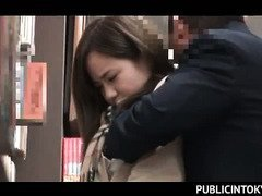 Splendid Japanese girl ass teased up skirt in a public library