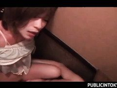 Gorgeous sweet ass Japanese pussy banged in public toilet