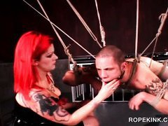 Hardcore BDSM with gagged and roped guy tortured