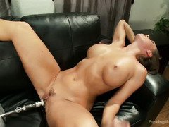 Breathtakingly beautiful brunette's twat is full of sated and sweet pussy nectar