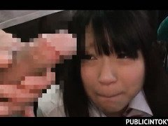 Japanese teeny squirting in public and eating big cock