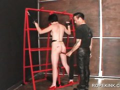Sex slave in chains taking a hardcore BDSM sex treatment