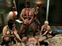 Tough cop receives rough punishment from four alluring babe officers