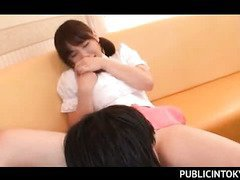 Gorgeous Asian waitress pussy licked with lust in hotel lobby