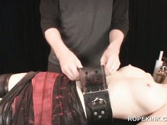 Table strapping for horny BDSM female sex slave newbie