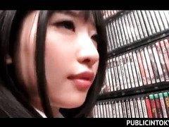 Japanese brunette school beauty having nasty sex in the library