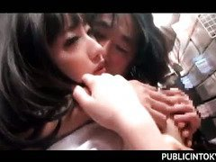 Japanese brunette school beauty having nasty sex in the library