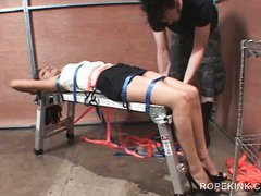 BDSM torture for nasty brunette nymph fucked while tied up