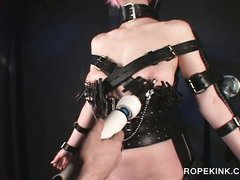 Sex slave in straps submitted to clipping and cunt masturbation