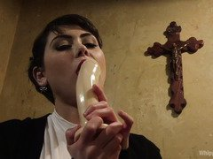 Horny nun caught babe licking a dildo and therefore babe must pay for her sins
