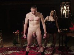 It is Christmas and slave stud has to satisfy demanding mistress lusty needs
