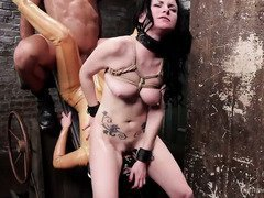 Stunning slave beauty has to learn how to multi-task during her slave training