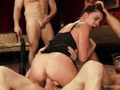 Gorgeous masked beauty attended a lusty and wild hardcore gangbang session