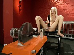 Sweet blonde is full of wanton wetness from masturbating with the fucking machines