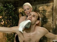 Blonde mistress gains deep satisfaction in getting stud to worship her totally