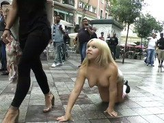 Petite and chubby blonde is made to crawl on the streets in her birthday suit