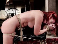 Humiliated redhead beauty begs master to fuck her instead of punishing her
