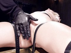 Blonde slave is screaming with pain pleasures as she squirts nectar uncontrollably