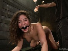 Bounded brunette beauty receives rough beaver hammering from tough master