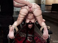 Hot redhead gets her butt hole stretched during her raunchy slave training session