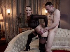 Bounded slave stud achieves pure pain pleasures from getting mistress divine attention