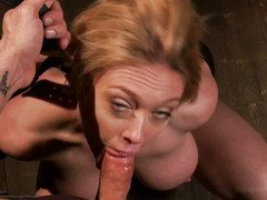 Gorgeous blonde with massive tits enjoys rough drilling punishment from master