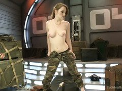 Army babe is relieving her horny desires with the help of the fucking machines