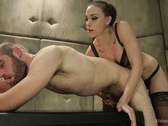 Stud has to pass several vigorous sexual tests in order to become a qualified spy