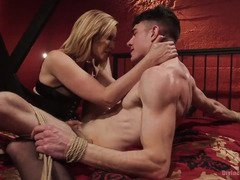 Watching handsome stud suffering from her wild tormenting delights horny mistress