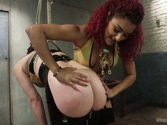 Ebony mistress wishes to test her fuck toy's endurances in receiving punishment