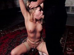 Hot blonde could not stop squirting during her rough slave training session