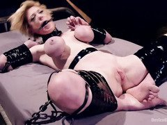 Big tits blonde is on a screaming spree as master punishes her horny poon tang