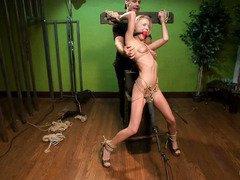 Creepy photographer punishes petite model with rough and kinky bondage punishment