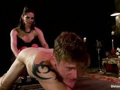 Handsome hunk is thankful to mistress for marking his body and making him pretty