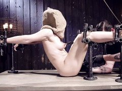 Masked beauty receives tenacious and kinky beating punishment from tough master