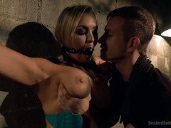 Stunning blonde with massive tits receives hardcore pounding during bondage sex