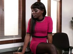 Ebony babe becomes the submissive as she surrenders her cunt to her employee