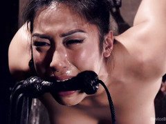 Busty Asian chick could not stop crying as master punishes her smoking hot body