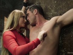 Demanding blonde mistress is in control of handsome stud's hard cock and butt hole