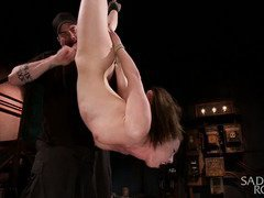 Alluring brunette is totally sated from master's relentless bondage punishment