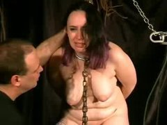 A submissive fatty gets her body tortured with electricity