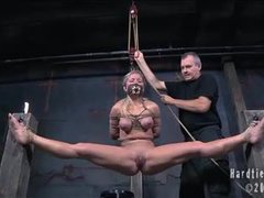 A busty blonde gets bound and tormented in flexible positions