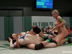 Four insanely hot babes wrestle and make each other cum