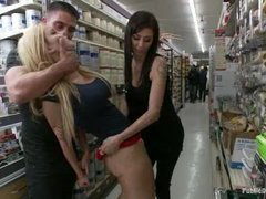 A squirting teen slut gets anally fucked in a hardware store