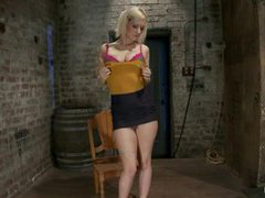 Cherry Torn suffers in a breast and crotch rope suspension