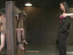 Kristina Rose is trapped in stocks for nice whipping and fucking