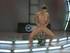 A tough squirting babe fucked by three huge rubber dicks