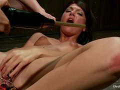 A horny slut learns electro BDSM from three dazzling mistresses