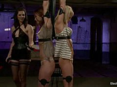 Two hot babes teased and tortured with electricity