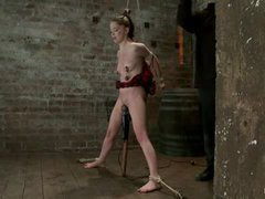 A petite sweetheart takes nipple clamping and flogging